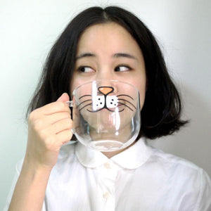 Cat Face Glass Coffee Cup - 550ML