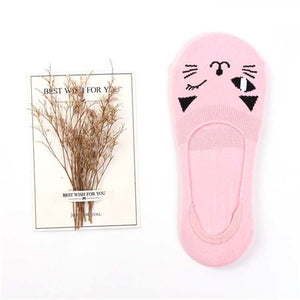 Cute Cat Solid Elastic Ankle (No Show) Socks