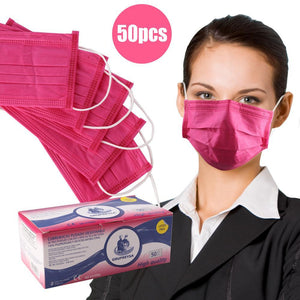 50 PCS Disposable Face Mask for Dust Protection, Three-Layer Filter