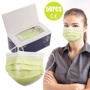 AKZENTA Top Mask Plus/Premium Type IIR 50 Pcs Disposable 3-Ply Face Mask, Light Green
