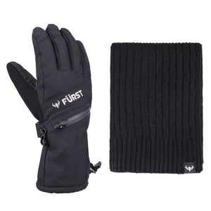 Men's Storm Touchscreen Winter Gloves and Scarf Set (Black)