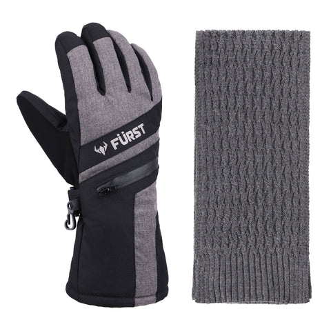 Men's Storm Touchscreen Winter Gloves and Scarf Set (Grey)