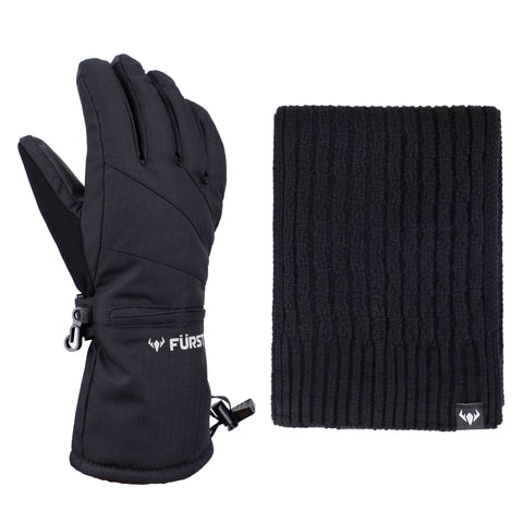 Women's Storm Touchscreen Winter Gloves and Scarf Set (Black)