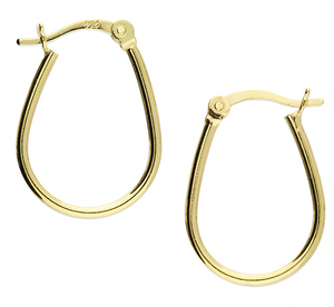 Yellow gold-plated small oval hinged hoop