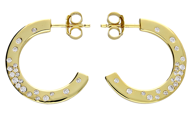 Gold plated scattered multi cubic zirconia flat stud hoop