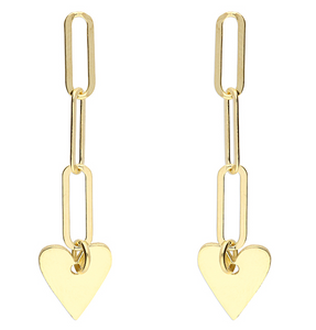 Yellow gold plated chain link stud drop with hanging heart