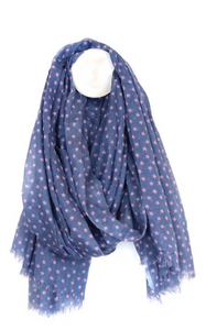 Scarf - Blue cotton scarf with pink stars