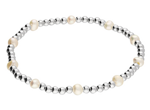 Freshwater pearl and silver elasticated beads