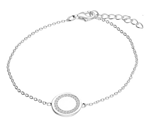 19cm cubic zirconia-rimmed disc on chain