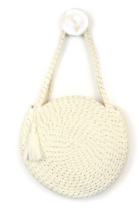 Round cotton rope bag in cream and gold