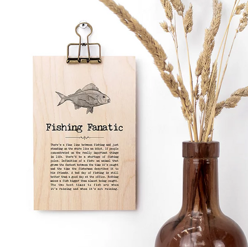 Plywood Plaque - Fishing Fanatic Quote