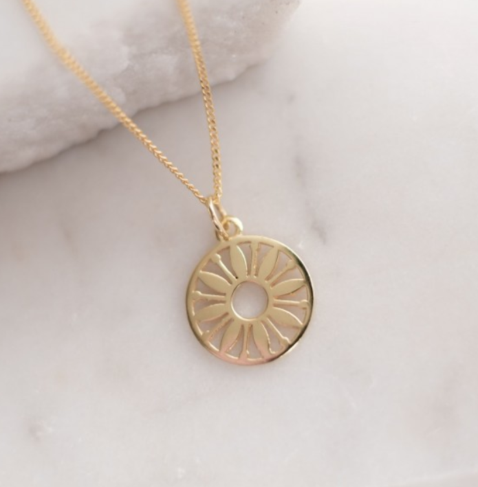 Token Charm Necklace Flower Power: Gold