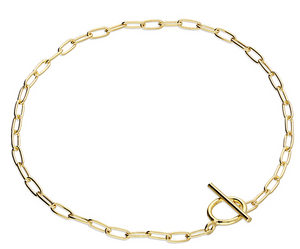 Oval open wire T-Bar Bracelet - Gold Plated