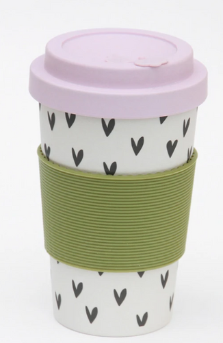 Bamboo Coffee Cup -Hearts/Lilac