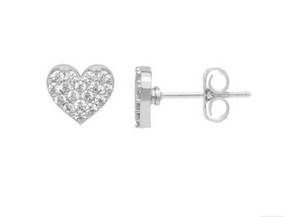 CZ Heart Earrings Silver