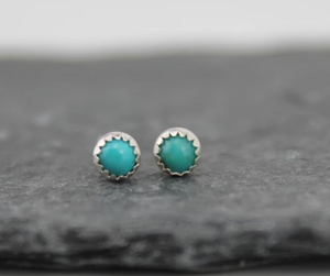 Sterling Silver Mini Studs With Turquoise Semi Precious Stones