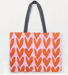 Fold Away Shopping Bag - Orange Hearts