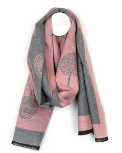 Scarf - Pink and grey jacquard tree