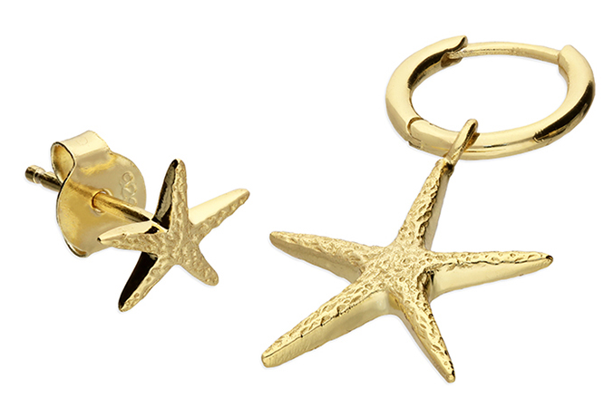 Yellow gold-plated asymmetric starfish hoop and stud
