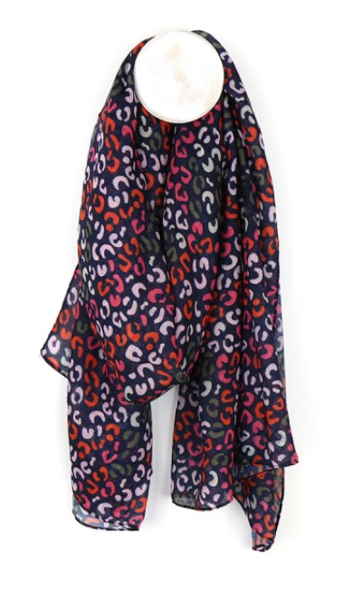 Scarf - Navy, red and pink print
