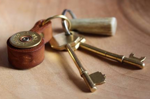 Shotgun Cartridge Key Ring - Brown