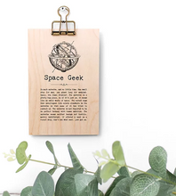 Plywood Plaque - Space Geek Quote
