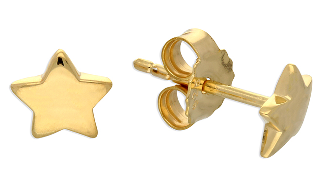 Yellow gold plated star stud