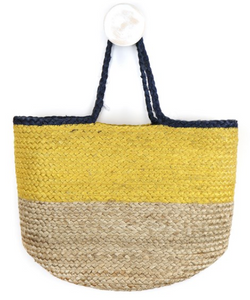 Natural and yellow jute bag with navy handles