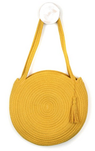 Round cotton rope bag in mustard yellow