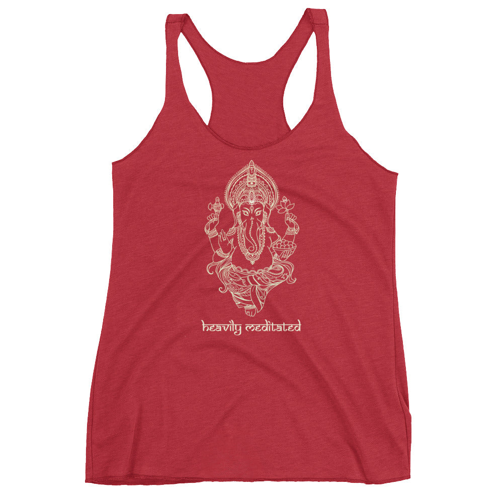 Heavily Meditated - Ganesha Tank Top- Women's Racerback Tank