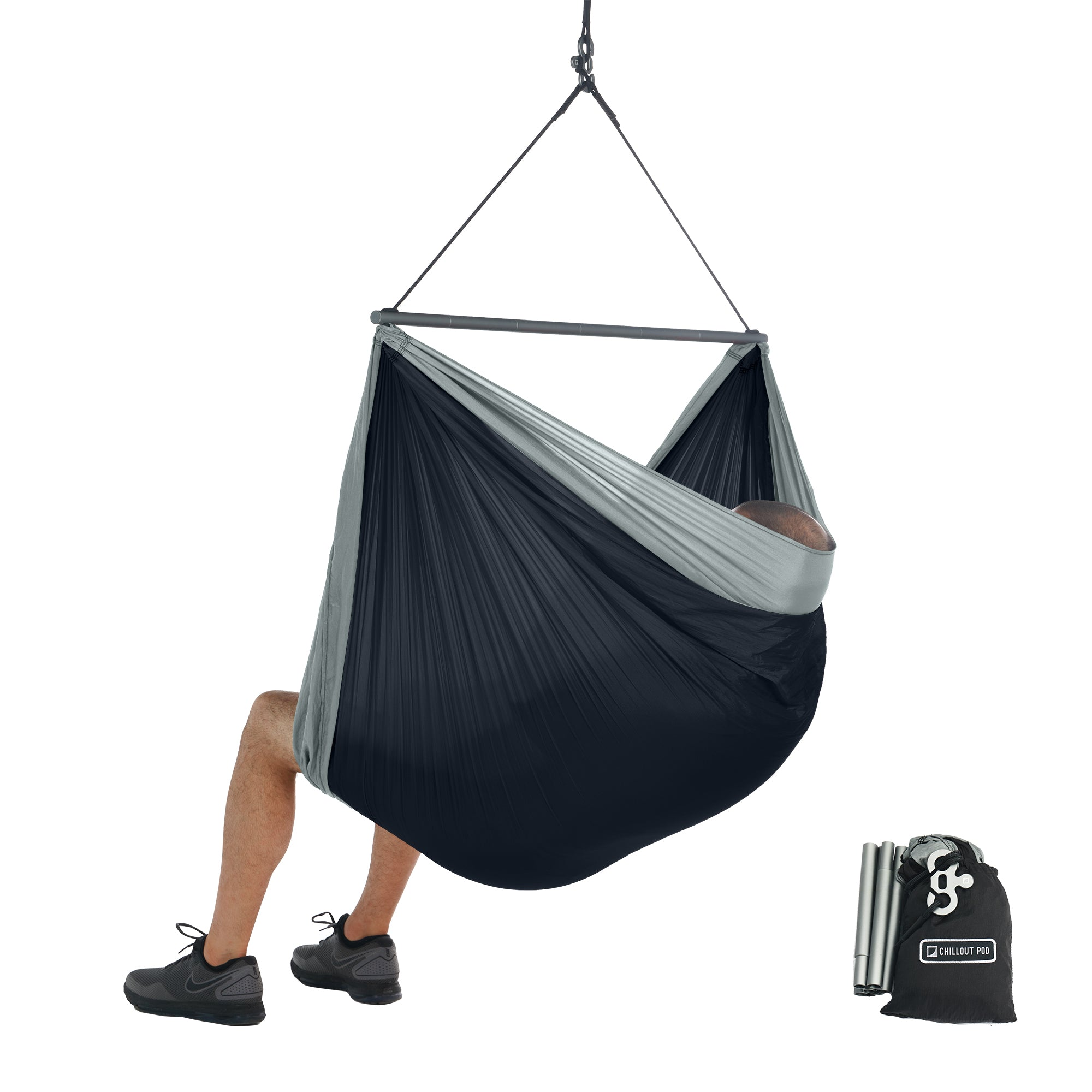 Foldable Hanging Chair Portable Hammock Chair Black Grey Chillout Pod