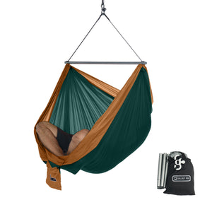 Foldable Hanging Chair - Portable Hammock Chair - Green-Brown
