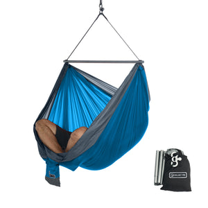 Hanging Chair - Portable Hammock Chair - Ocean Blue-Grey
