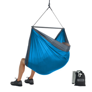 Foldable Hanging Chair - Portable Hammock Chair - Ocean Blue-Grey