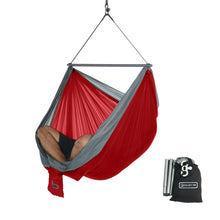 Foldable Hanging Chair - Portable Hammock Chair - Red-Grey