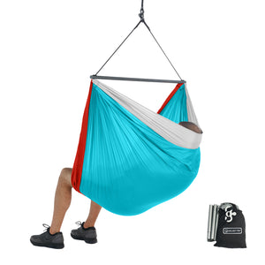 Foldable Hanging Chair - Portable Hammock Chair - Sky Blue-Red-White