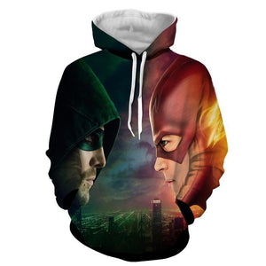 Flash & Green Arrow 3D Printed Hoodie - The Flash Jacket - Star Lab Hoodie - Hoodies Universe