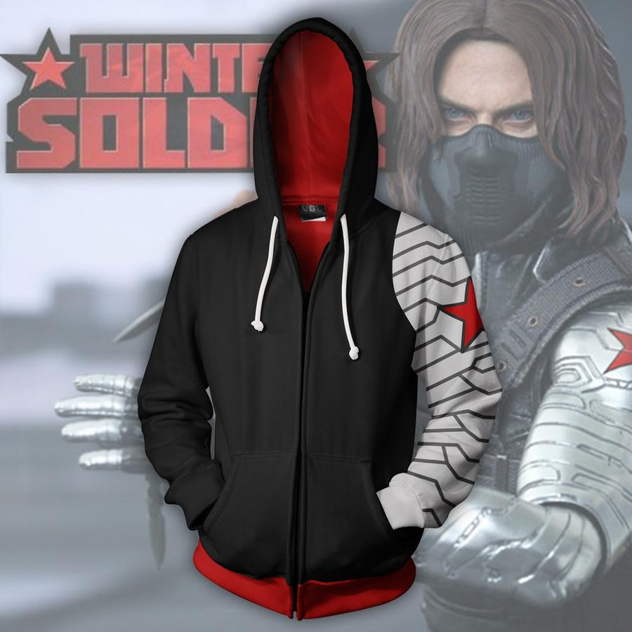 CAPTAIN AMERICA WINTER SOLDIER  3D JACKET - ZIP UP HOODIE - CAPTAIN AMERICA 3D HOODIE