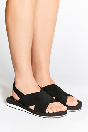 Comfortable, black, non-leather sandals for modern, sporty and active women. Ideal for everyday, travel, yoga and style with comfort.