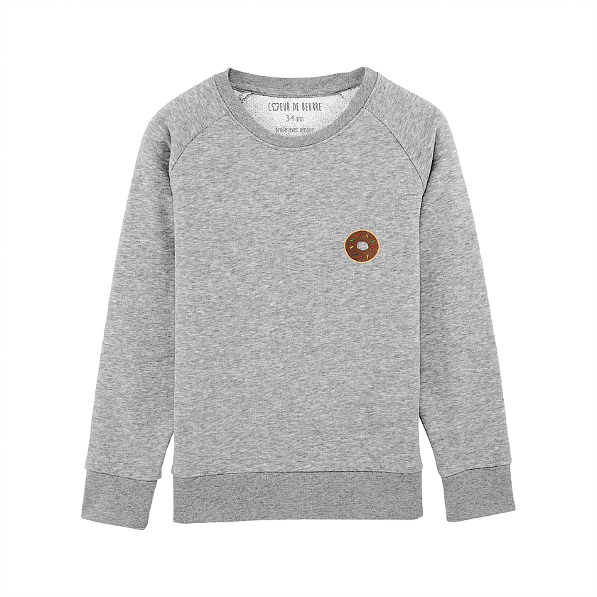 Sweat Kid donut coton bio sweat enfant sweat bébé sweat enfant made in france coton biologique loupilou coeur de beurre