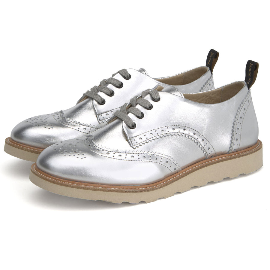 Derbies Brando en cuir argent (adultes)