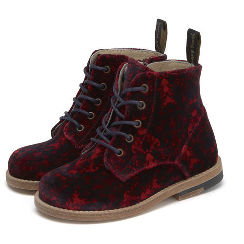 Boots Buster en velours rouge
