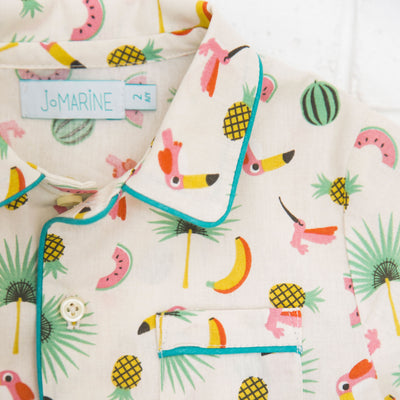 "Pyjama ""Toucan et cocktail de fruit"" Charlie JoMarine Loupilou pyjama 100% coton nuit tranquille confort nature fruit jungle garçon enfant"