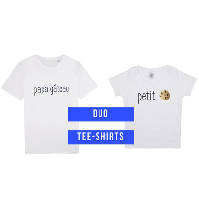 T-shirt adulte Petit Biscuit Coeur de Beurre Loupilou parents tee shirt tee-shirt tshirt blanc brodé made in france duo