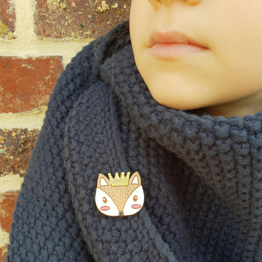 Pin's du roi renard My Little Fox Loupilou pin's roi reine renard bois accessoire made in france fait main nature foret