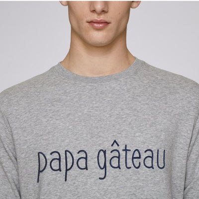 Sweat papa gâteau adulte Coeur de Beurre Loupilou pull brodé gris made in france