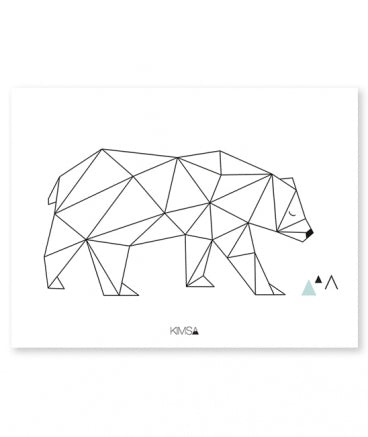 Affiche ours en origami - Loupilou