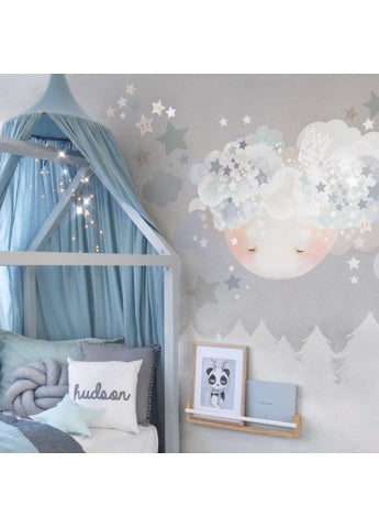 Schmooks Sleepy Moon Wall Sticker - Blues
