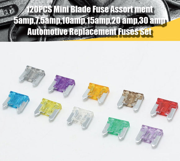 120 Pcs Low Profile Mini Blade Fuse Assortment Set Auto Car Truck ATM - #FUSEO-70140