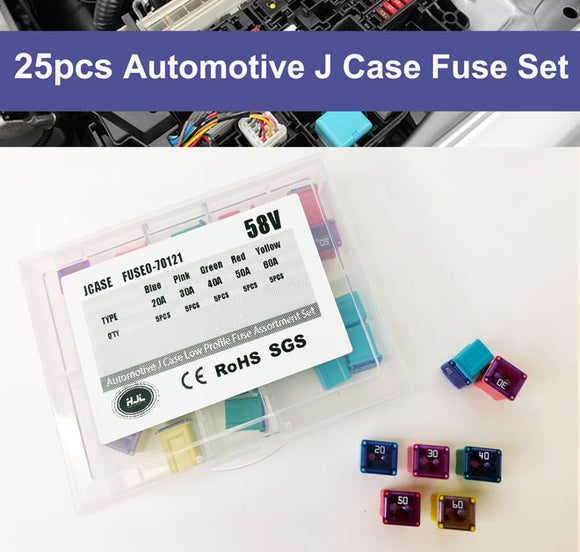 25 Pcs Automotive J Case Low Profile Fuse Assortment Set 58V 20A 30A 40A 50A 60A - #FUSEO-70121